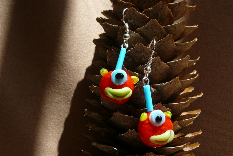 Lovely, quirky earrings featuring mini monsters!